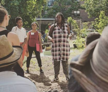 Tanya Fields talks to a group of funders about what Libertad Urban Farms and BLK Projek does.