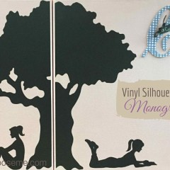 Vinyl Silhouette on Painted Canvas Monogram Wall Art