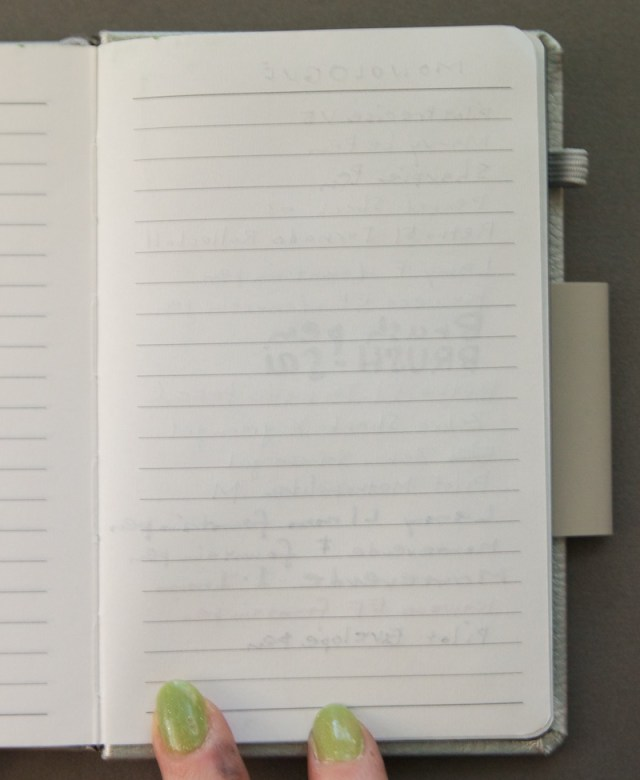 Monologue notebook writing ample reverse side