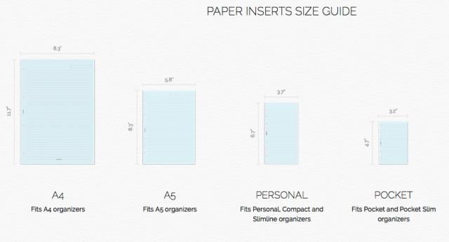 Filofax paper sizes