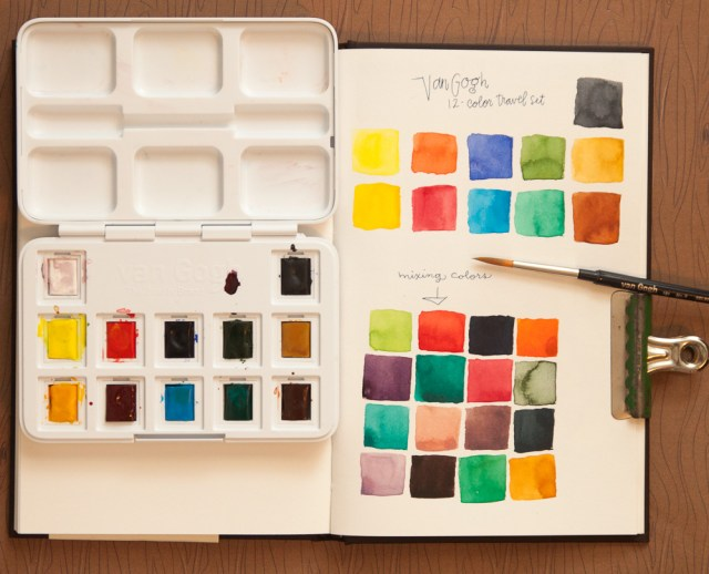 Van Gogh Travel Watercolor Set swatches