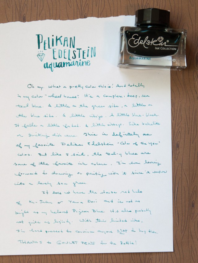Pelikan Edelstein Aquamarine ink writing sample