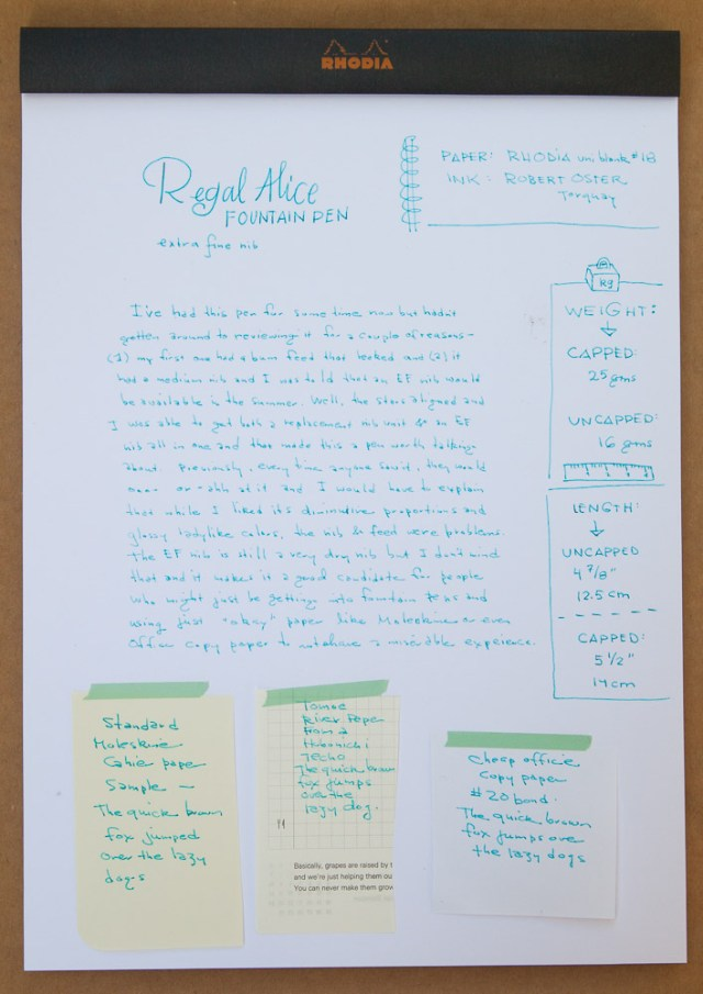 regal alice fountain pen writing sample