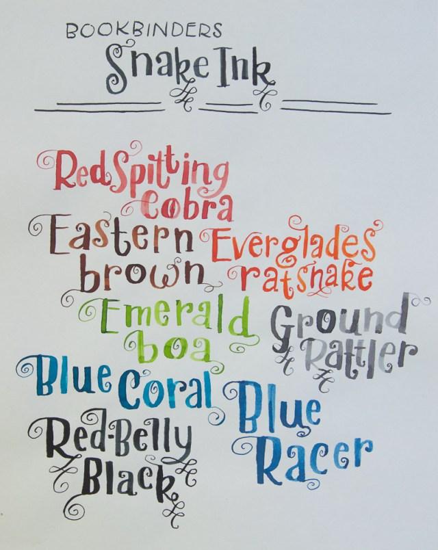 Bookbinders snake ink writing sample