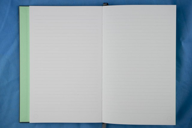 Lined paper and lay-flat binding in Moo Notebook