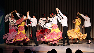 swirling skirts at Wellesley Latina dance performance