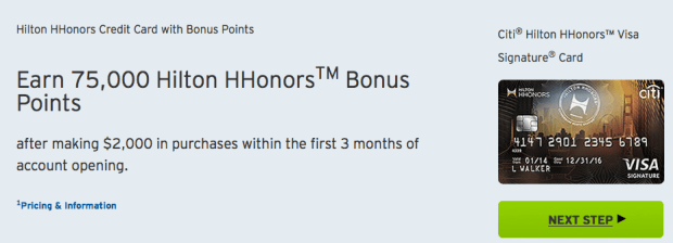 75,000 Points Offer Back on Citi Hilton HHonors Visa ...
