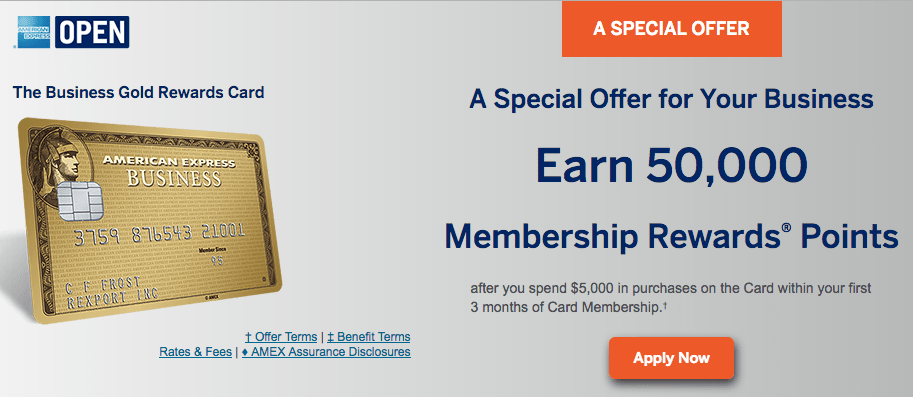AMEX Business Gold Rewards Card Sign Up Bonus Now 50 000