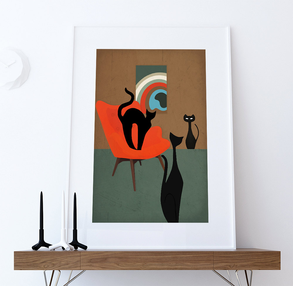Piquant Crafts Mid Century Print Cats Abstract Art Print Poster Giclee On Cotton Canvas Paper Canvas Wall Decor 5817ae531 Mid Century Art Etsy Mid Century Arts houzz-03 Mid Century Modern Art