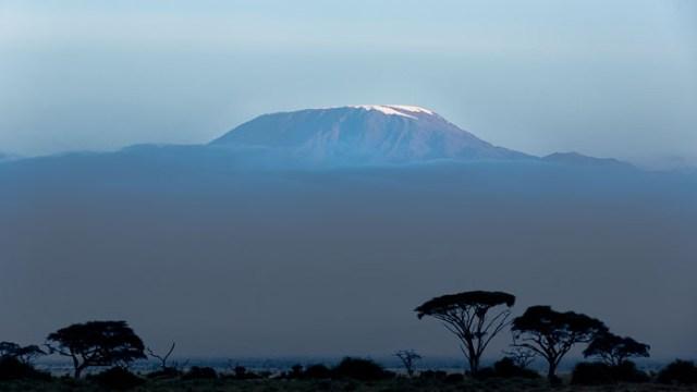 The summit of Kilimanjaro in Tanzania as seen from Amboseli, Kenya.