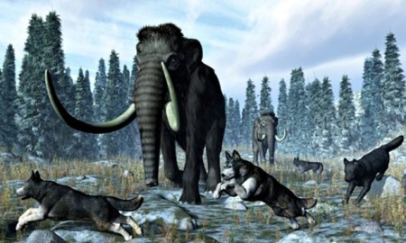 mammoth-direwolves