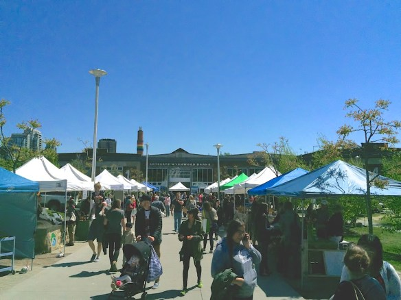 Outdoor Farmers Market stalls on Saturday May 23.