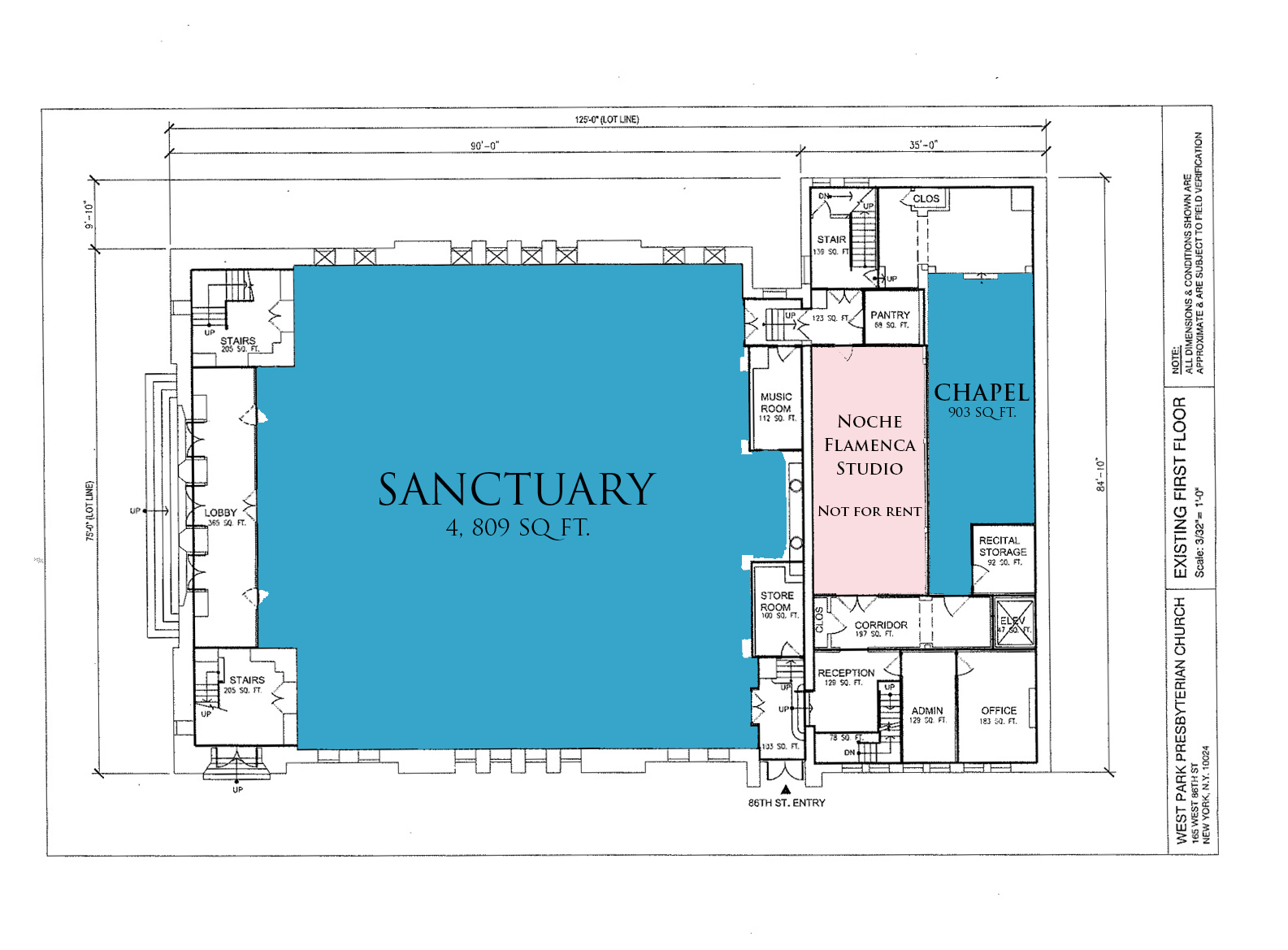 Rooms pricing west park presbyterian church for Church blueprints and floor plans