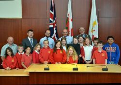 Pictured are pupils from Fenton CP School, including chair Molly Ashton, and deputy chair Chardonnay Blair, with (left to right) Cllr Lyndon Frayling, Matthew Harries, Rev Ian Middlemist, Ian Westley and Cllr Wynne Evans.