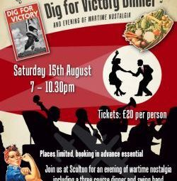 Scolton Manor is holding a street-party style 'Dig for Victory dinner' on Saturday 15th August to mark the 70th anniversary of VJ Day and the end of WWII. Scolton was used as a convalescence hospital during the war.