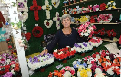 Maureen's Floral Design at Llanelli Market. Pic Jeff Connell 24/09/15