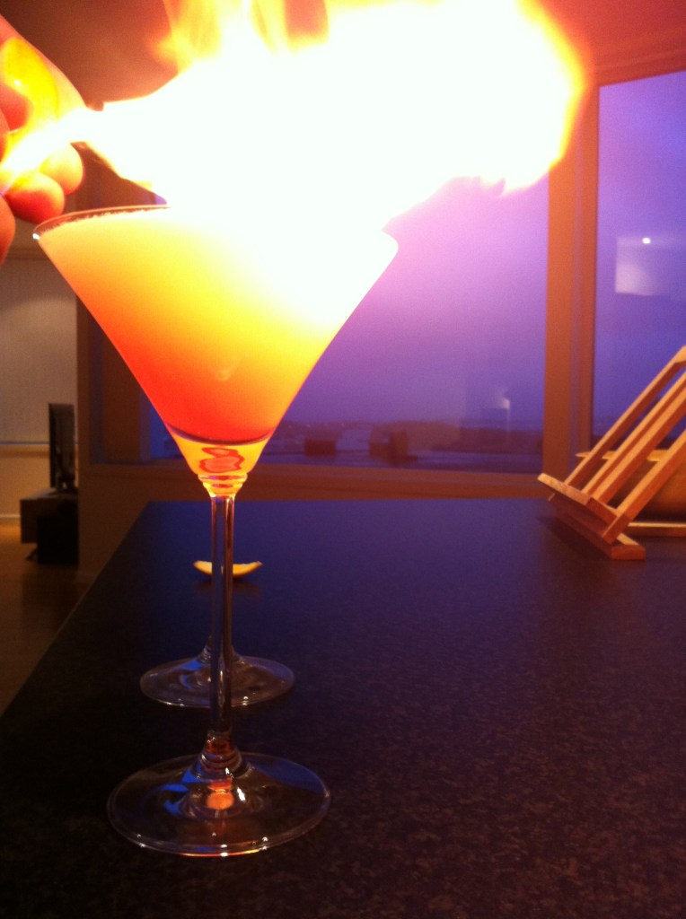 Cosmopolitan Cocktail Flamed