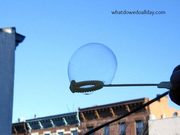 Blow a frozen bubble - winter science for kids!
