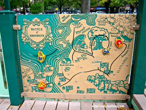 Playground equipment with Battle of Brooklyn map