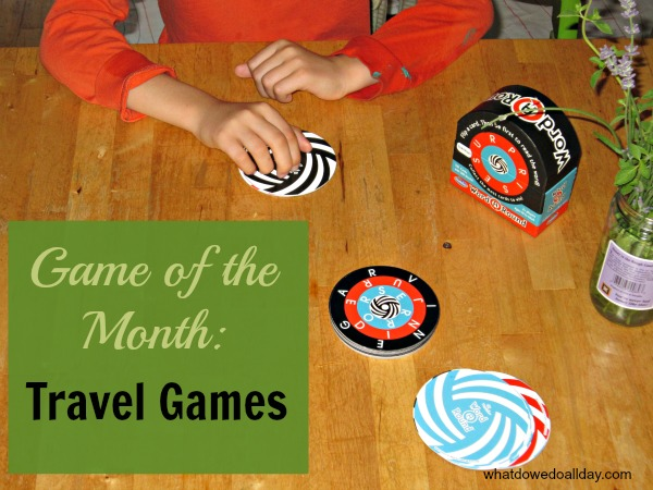 A selection of our favorite games to keep kids buys on car rides and airplane trips.