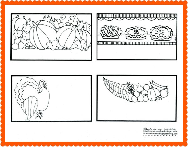 Printable Thanksgiving place cards coloring page