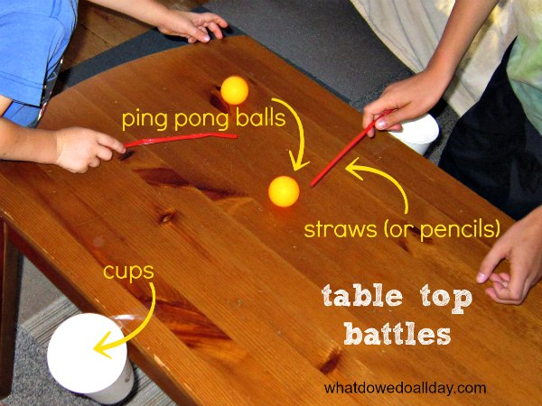Table top indoor ball battle game.