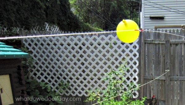 Balloon rocket races. Kid activity.