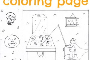 Free, printable Halloween coloring page with puppets.