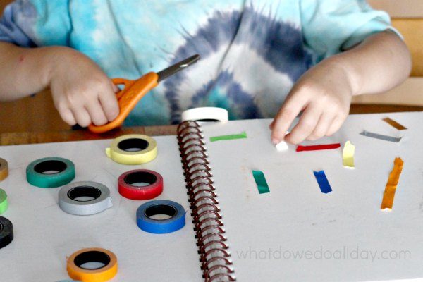 Creating art from tape. Project for kids who hate art.