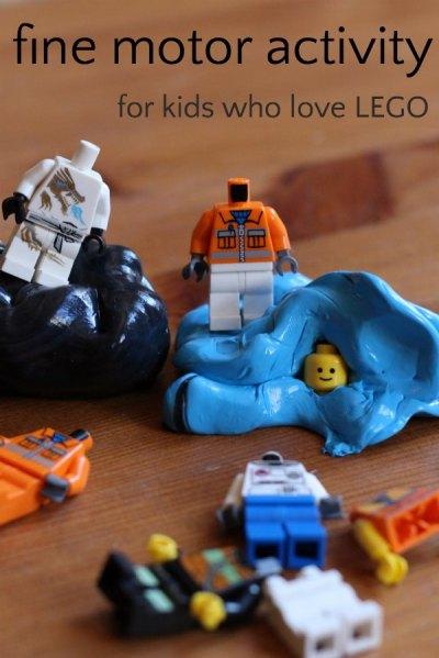 LEGO activity to build fine motor skills
