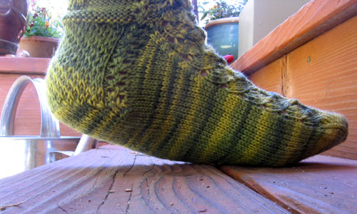 The green socks from the side