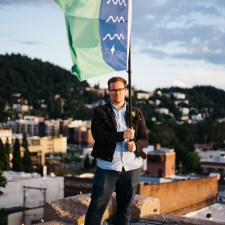 Brad Lockhart weaved together local history, culture and beauty in his creation of the Bellingham flag. PHOTO BY TOMMY CALDERON