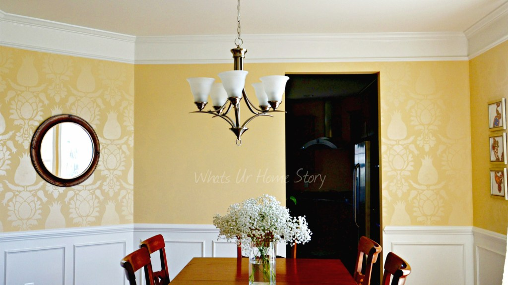 tone-on-tone stencil, Stenciled-wall, transitional-dining-room, Uzbek-Suzani-Stencil