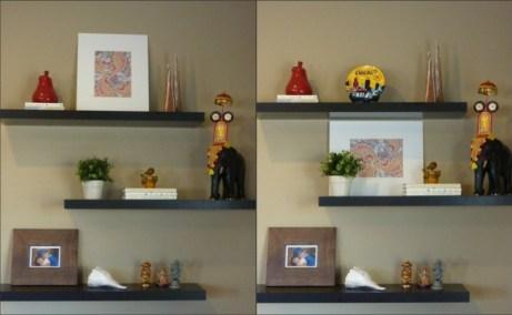 decorating floating shelves, craft paper