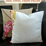 Dish-Towel-Throw-Pillow, Pottery-Barn-knockoff-pillow, DIY-throw-pillow