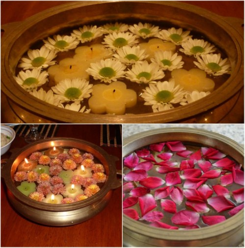 Whats Ur Home Story: floating flowers centerpiece, floating flowers in uruli, simple floral centerpieces