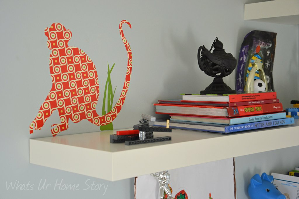 Whats Ur Home Story: Decorating with floating shelves, kids room storage, explorer themed boys room, monkey themed room,Benjamin Moore Gray Cashmere