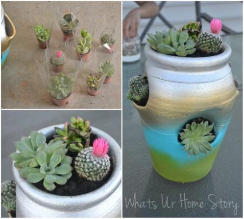 strawberry pot planter, How to make a strawberry pot succulent planter