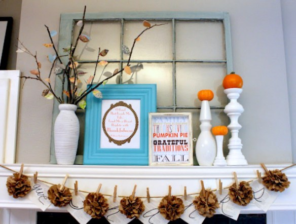 Simple Thanksgiving Mantel, colorful thanksgiving mantel