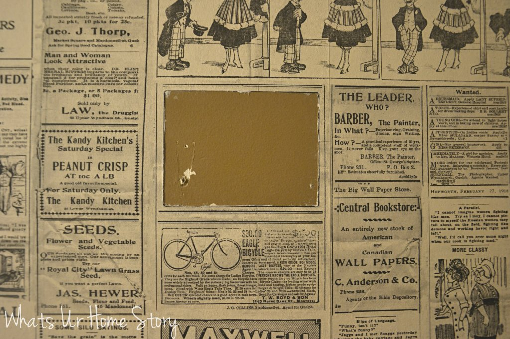 Whats Ur Home Story: How to hang wallpaper, vintage newspaper wallpaper, wallpaper powder room, paste on the wall wallpaper