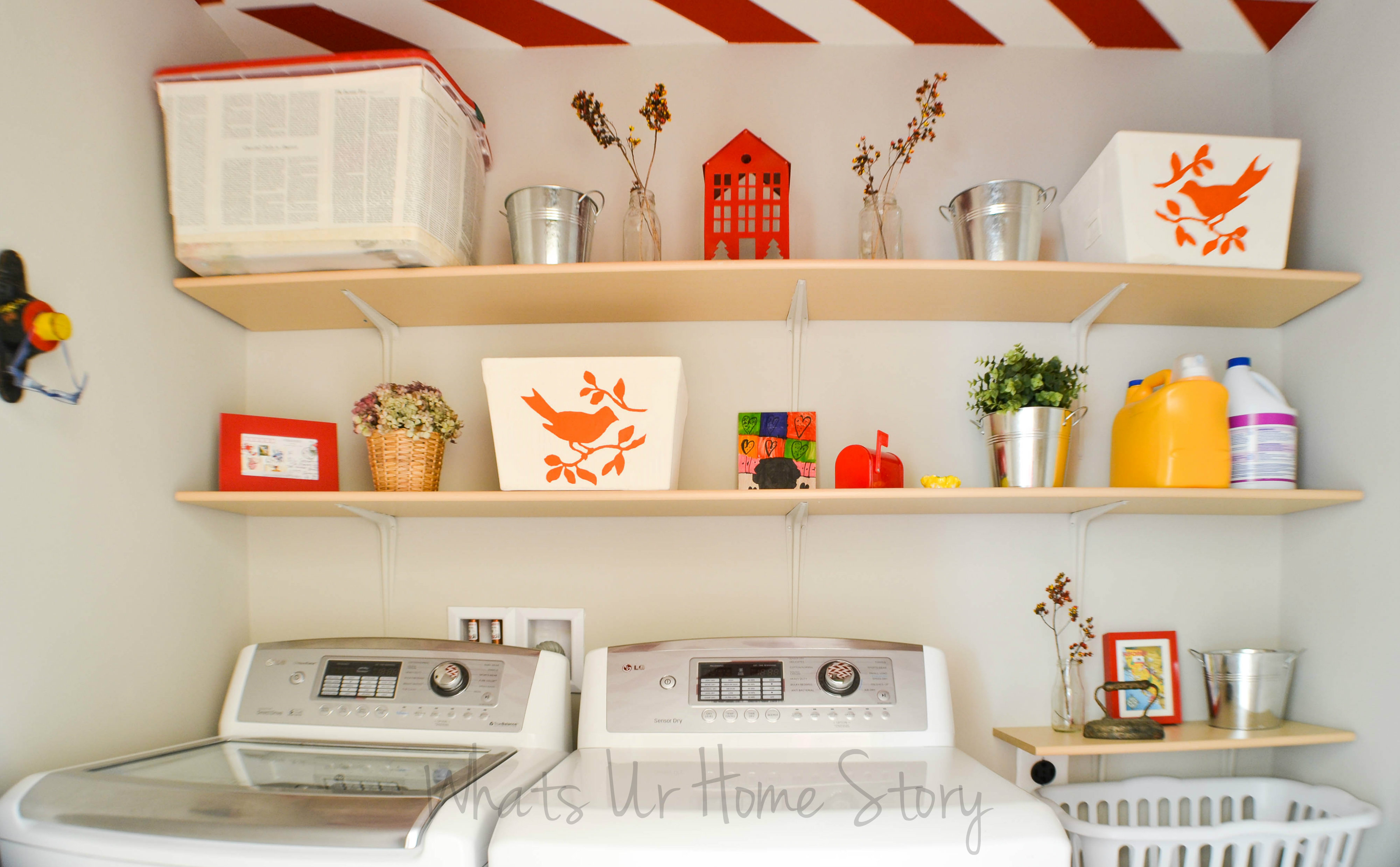 Simple diy wall shelves for the laundry room whats ur for Laundry room shelving diy