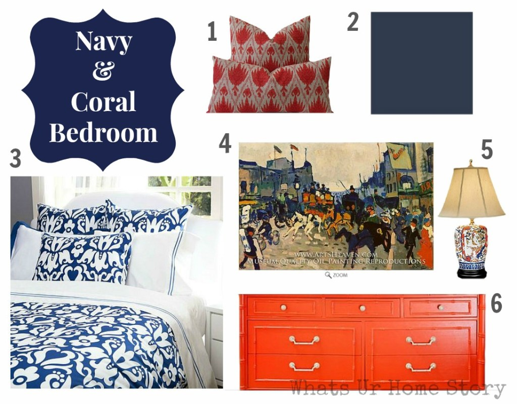 navy and coral bedroom design