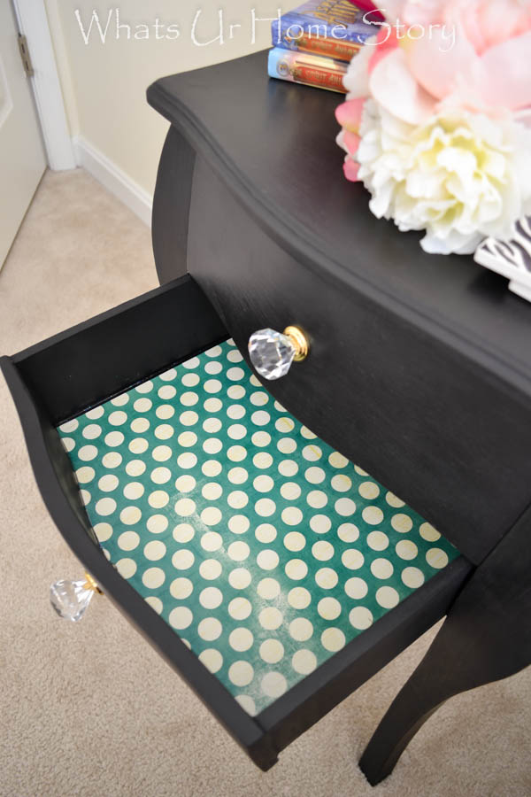 side table with craft paper liners