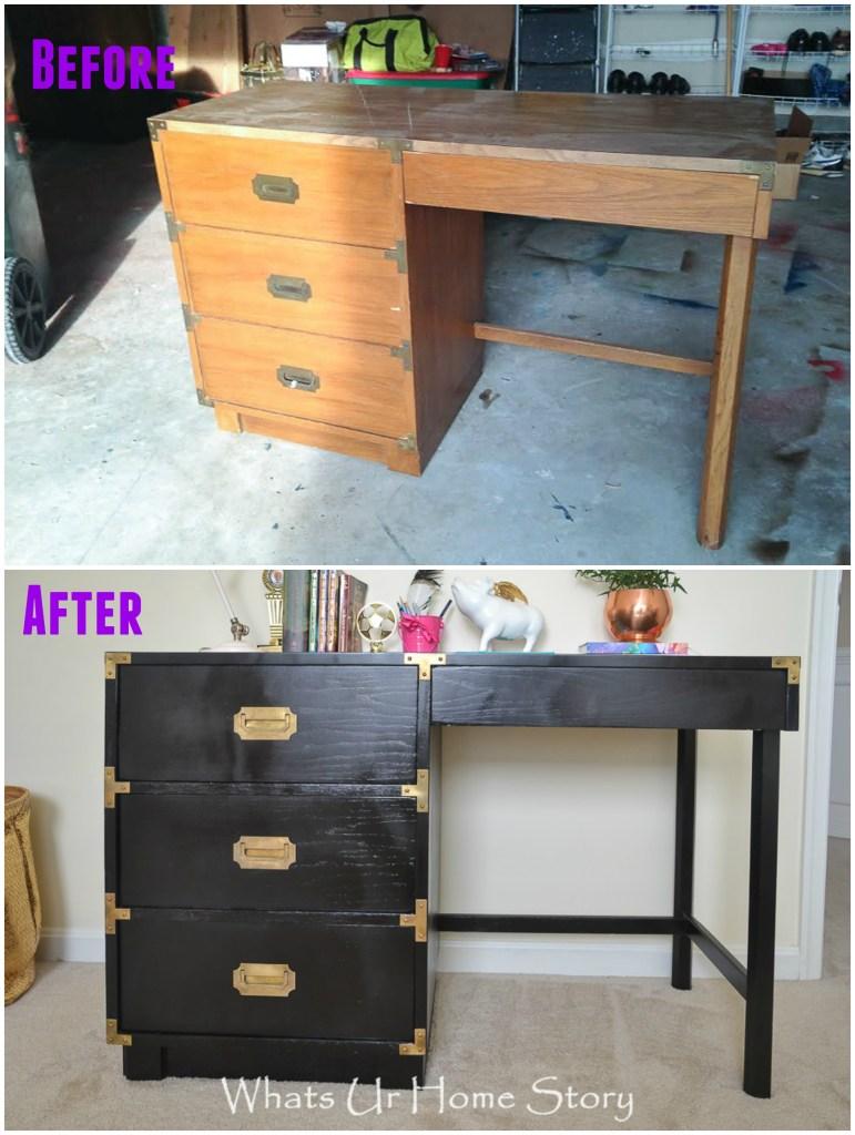 Awesome transformation on this Craigslist desk -DIY Campaign Desk Makeover
