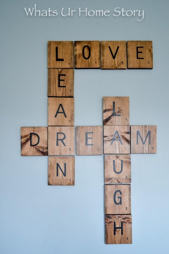 Scrabble wall art with DIY tiles