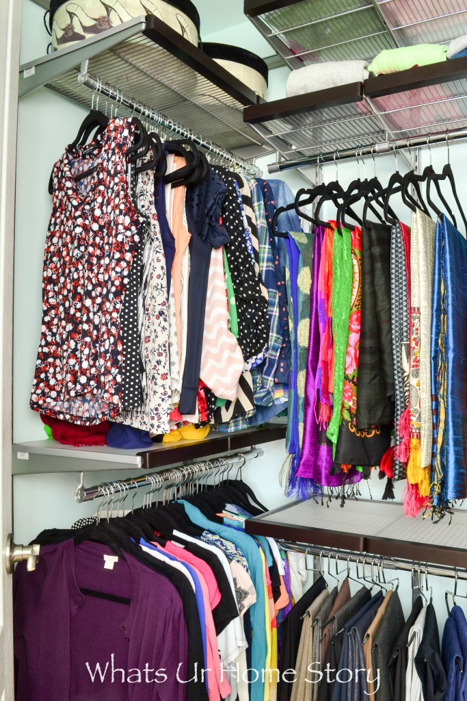 closet-organization-with-container-stores-elfa-sheving-system-for-a-small-walk-in-closet