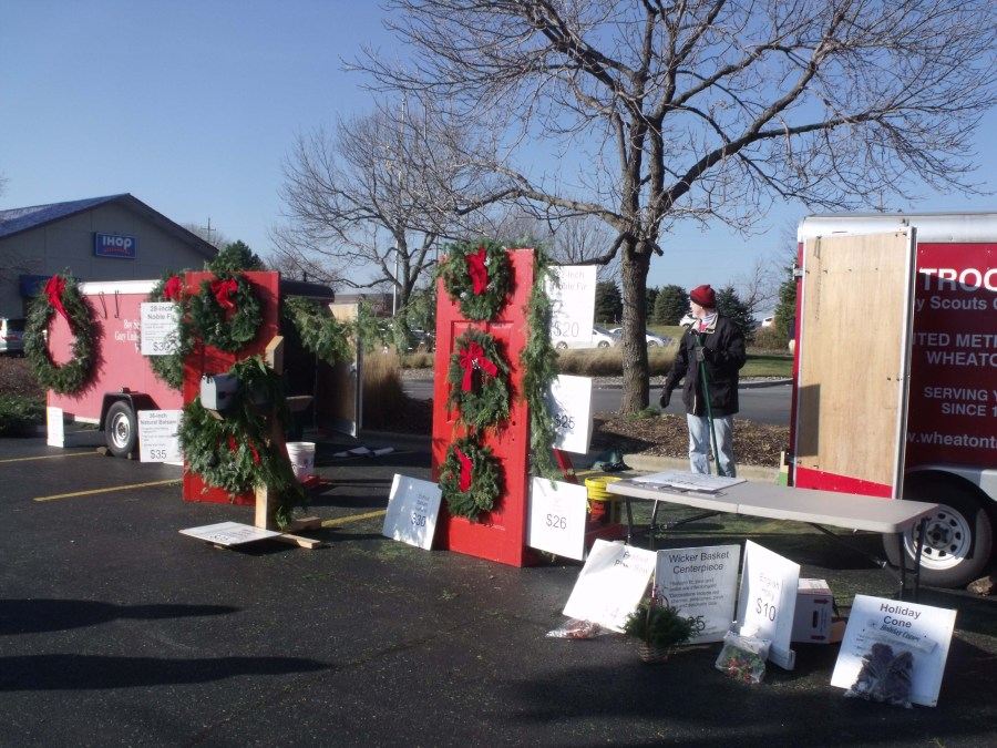 Troop sells wreaths to walkup customers as well as door to door!