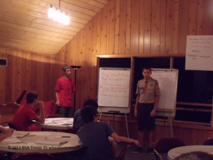 Mark and Joey lead the leadership training discussion on a 'boy-led' troop, August 2012