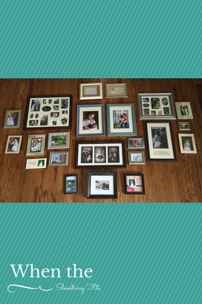 My first attempt at the gallery wall. Too many frames, and not much variety.