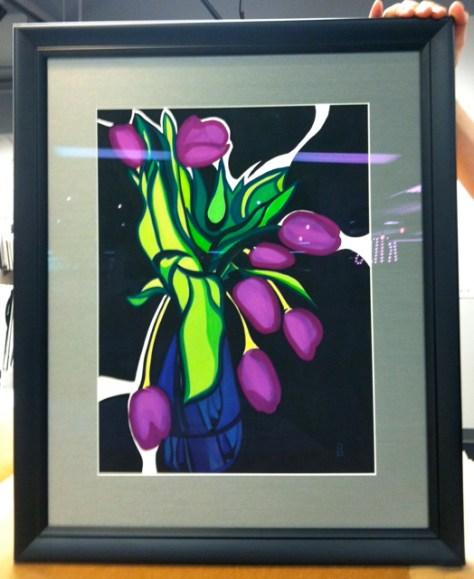 Purple Tulips, Gouache on Paper, by Romi Cortier, Sold